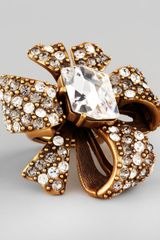 Oscar de la Renta Crystal Bow Ring Clear - Lyst