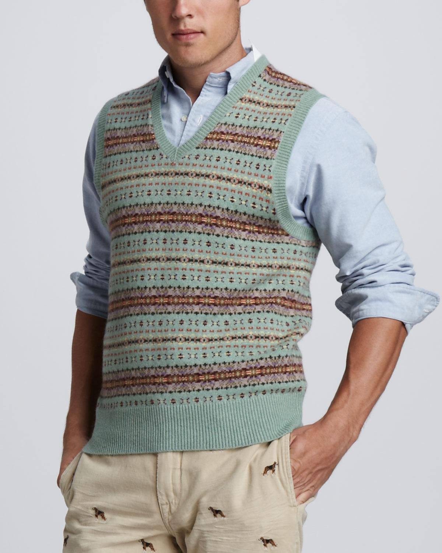 Polo Ralph Lauren Fair Isle Sweater Vest In Green For Men