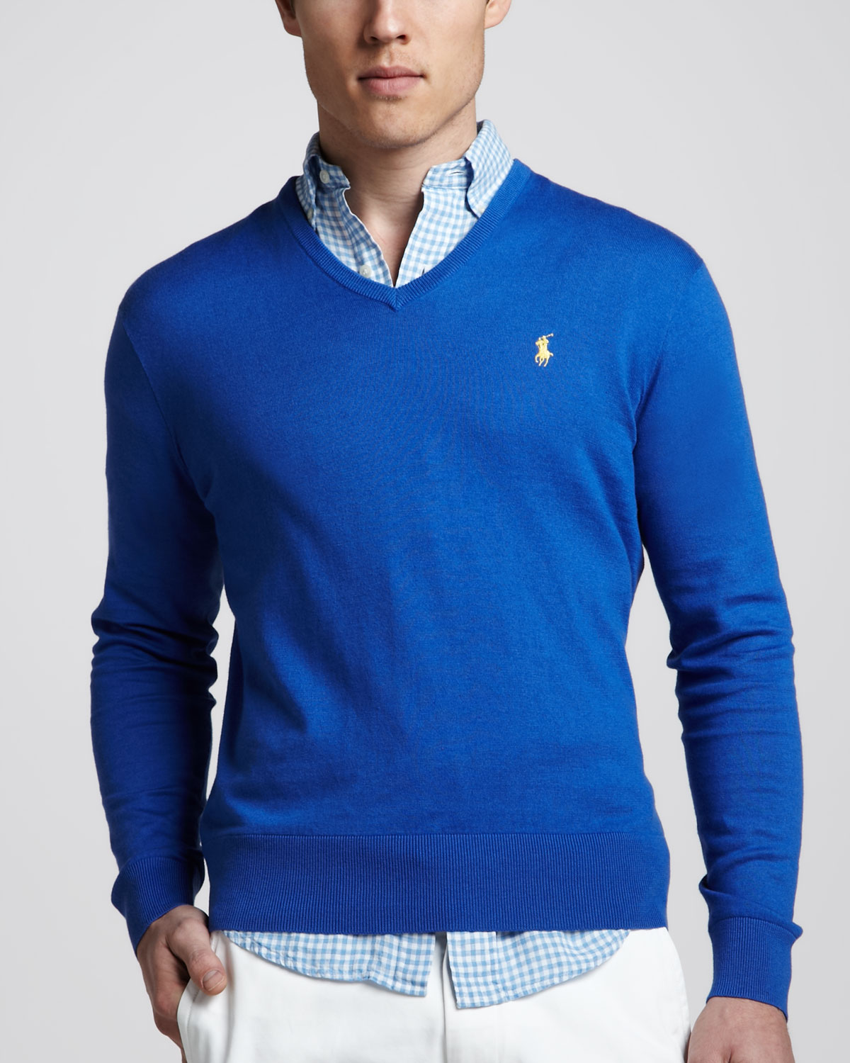 lyst polo ralph lauren vneck cottoncashmere sweater in blue for men. Black Bedroom Furniture Sets. Home Design Ideas