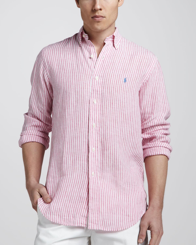 3f34fd10d3 Polo Ralph Lauren Striped Linen Sport Shirt in Pink for Men - Lyst