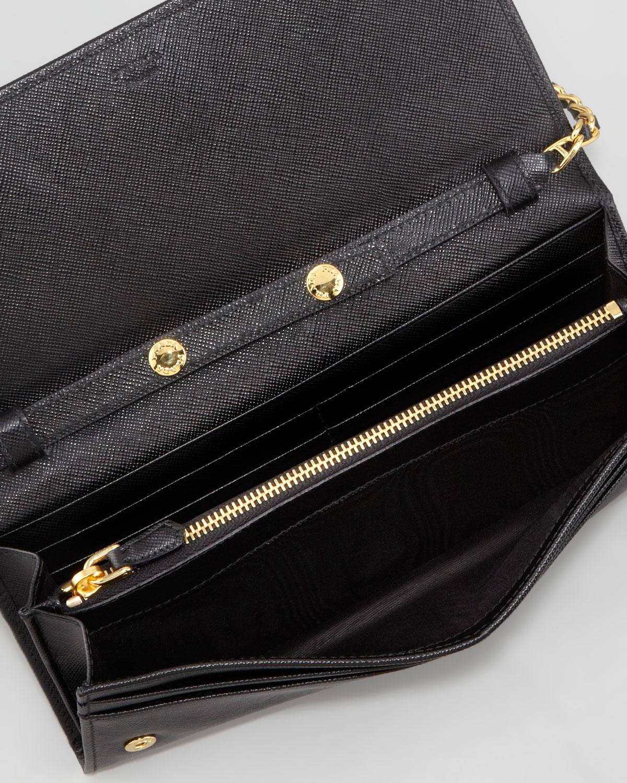 Lyst Prada Saffiano Wallet On A Chain In Black