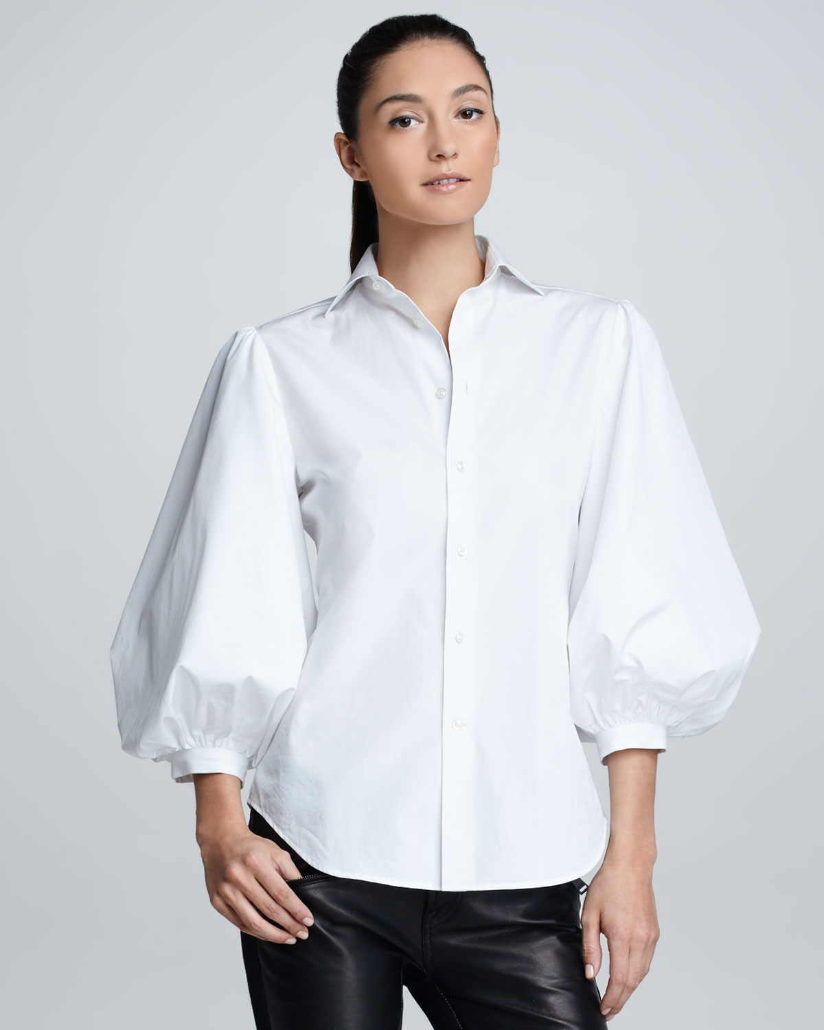 ralph lauren black label womens aston puffsleeve cotton poplin blouse white in white lyst. Black Bedroom Furniture Sets. Home Design Ideas