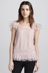 RED Valentino Flutter Sleeve Swiss Dot Tulle Top - Lyst
