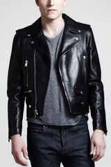 Saint Laurent Leather Motorcycle Jacket - Lyst