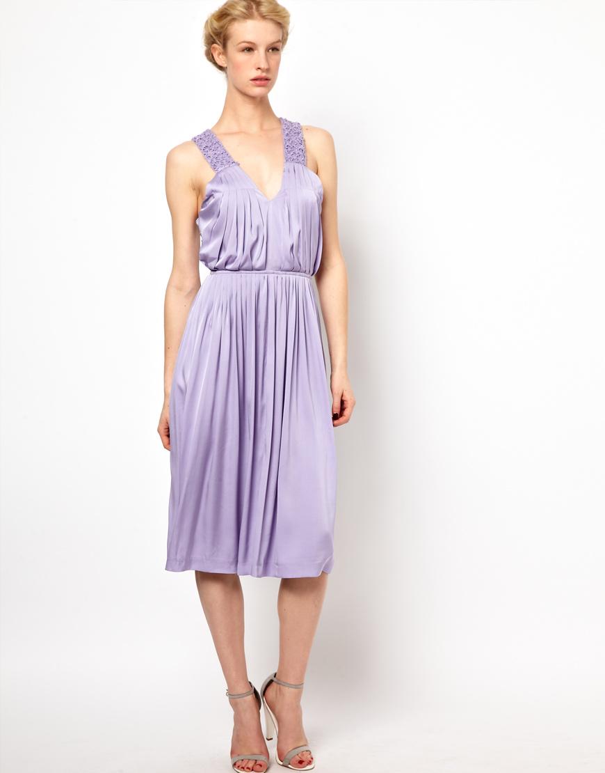 Sophia Kokosalaki Kore By Cross Back Pleat Dress With Lace