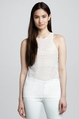 Stella McCartney Eyelet Jersey Top Paper - Lyst