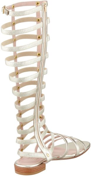 Stuart Weitzman Gladiator Metallic Stretch Sandal In