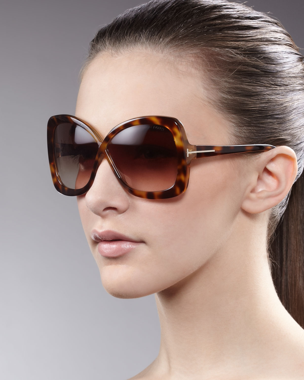 c578ecb12be Lyst - Tom Ford Calgary Butterfly Sunglasses Havana in Brown