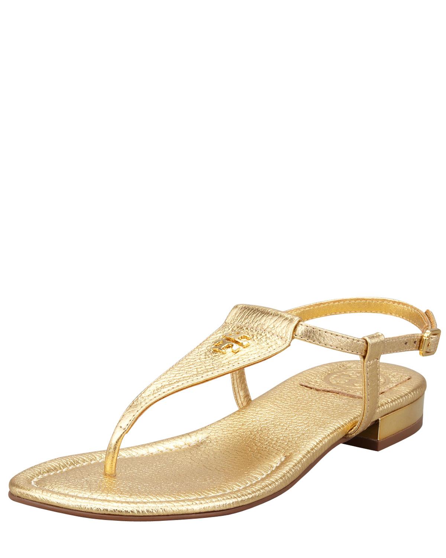 1c1a6cf612de00 Lyst - Tory Burch Britton Flat Thong Sandal in Metallic