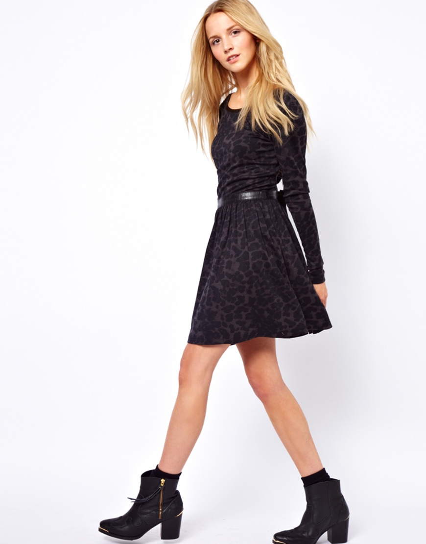 Lyst - Traffic People Leopard Print Skater Dress with Pu Trim in Black 399844e75