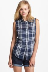 Two By Vince Camuto Sleeveless Plaid Shirt - Lyst