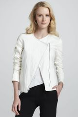 Vince Leather-sleeve Asymmetric Jacket - Lyst