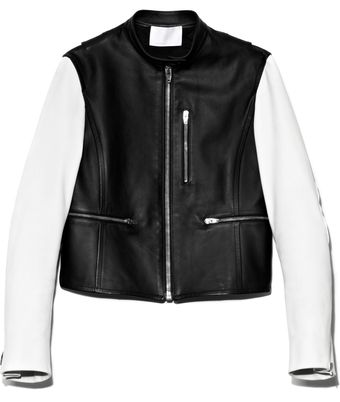 Alexander Wang Matte Finish Lamb Zipup Moto Jacket with Contrast Sleeves and Split Hem - Lyst