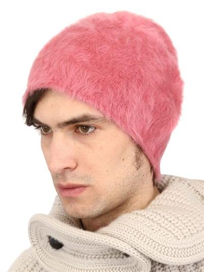 37d5cb2f95315e Andrea Pompilio Rabbit Fur Beanie Hat in Pink for Men - Lyst