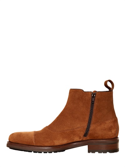 A Testoni Suede Monk Strap Low Boots In Brown For Men Lyst