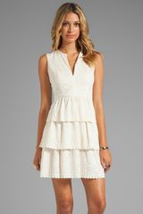 BCBGMAXAZRIA Sleeveless Lace Dress in Cream - Lyst