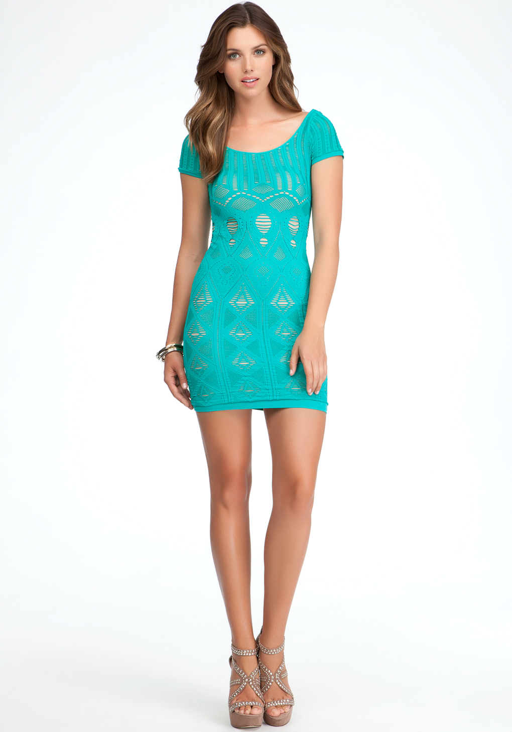 Lyst - Bebe Double Layer Shirt Lace Sleeve Dress In Green-5626