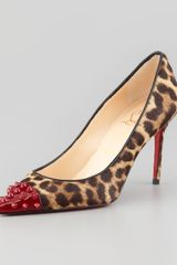 Christian Louboutin Geo Spike-toe Leopard Calf Hair Red Sole Pump - Lyst