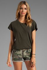 Current/Elliott The Crew Neck Tee in Dark Green - Lyst