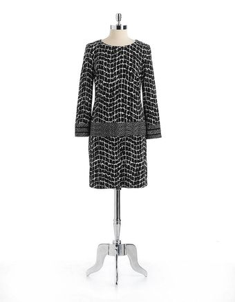 Donna Morgan Box Print Longsleeved Dress - Lyst