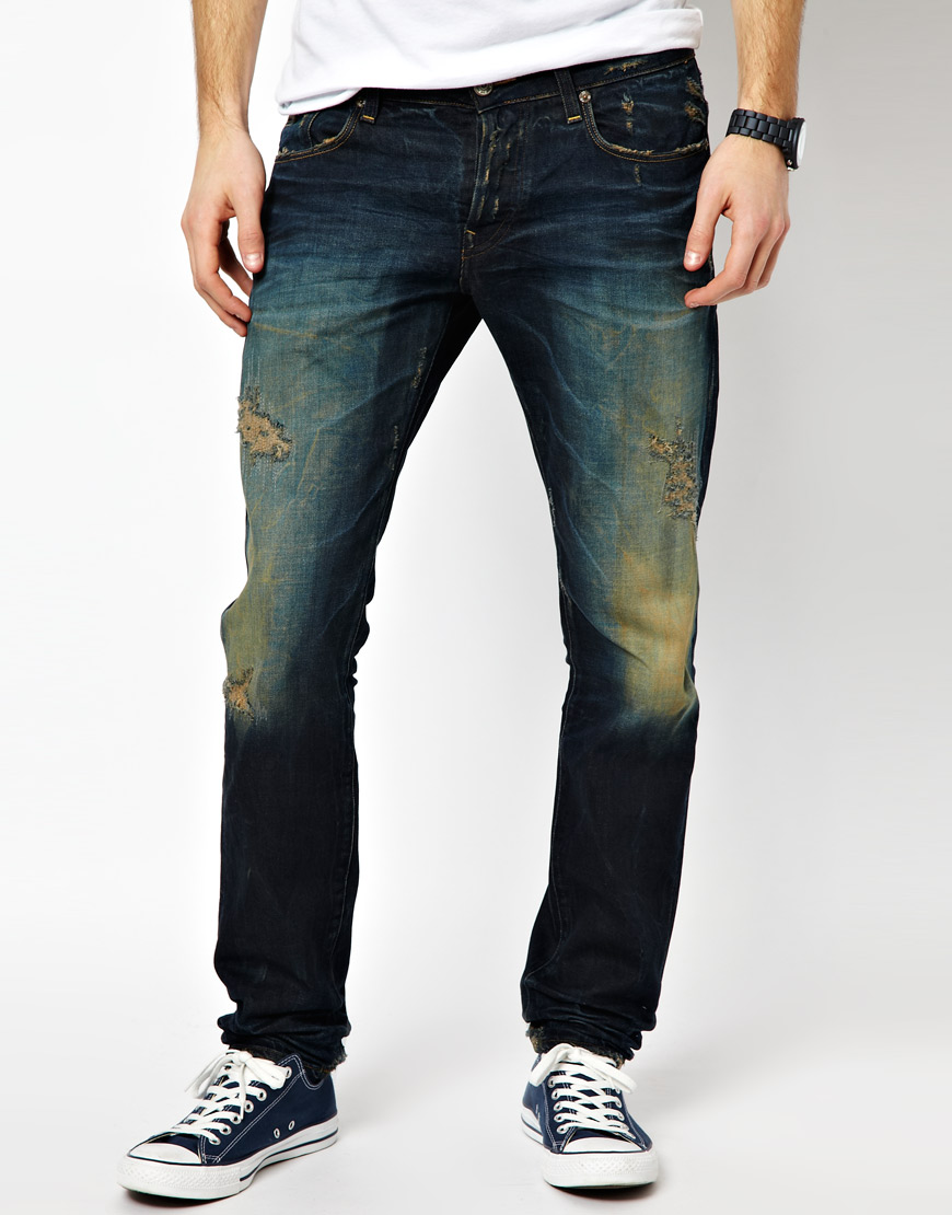 Lyst G Star Raw Jeans Low Tapered Dark Aged Destroy In