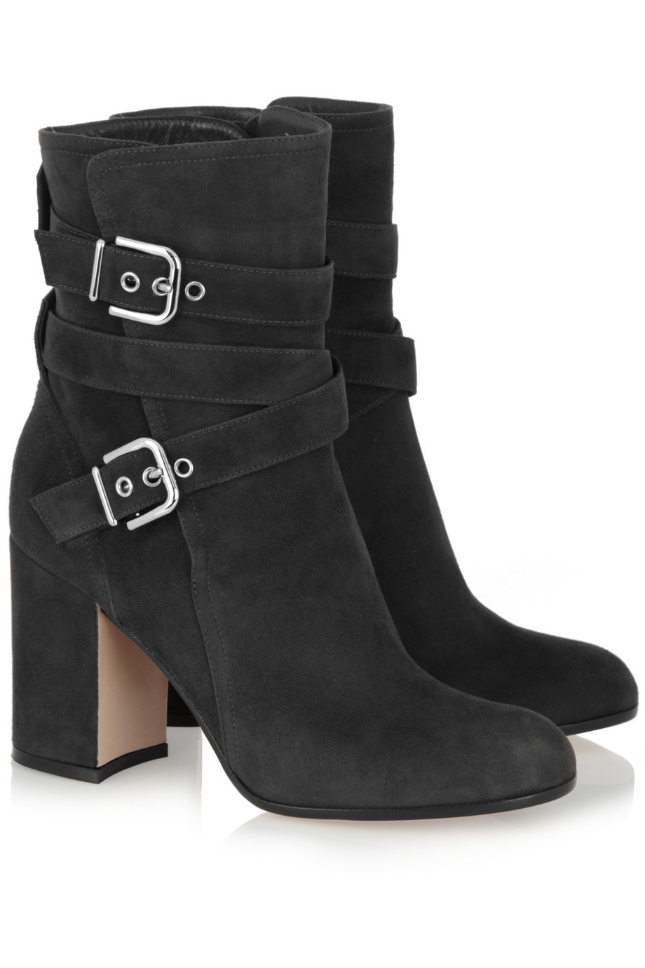 gianvito rossi buckled suede ankle boots in gray lyst. Black Bedroom Furniture Sets. Home Design Ideas