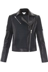 Helmut Lang Leather Jacquard Crop Biker Jacket - Lyst