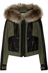 Jason Wu Raccoontrimmed Twill and Leather Jacket - Lyst