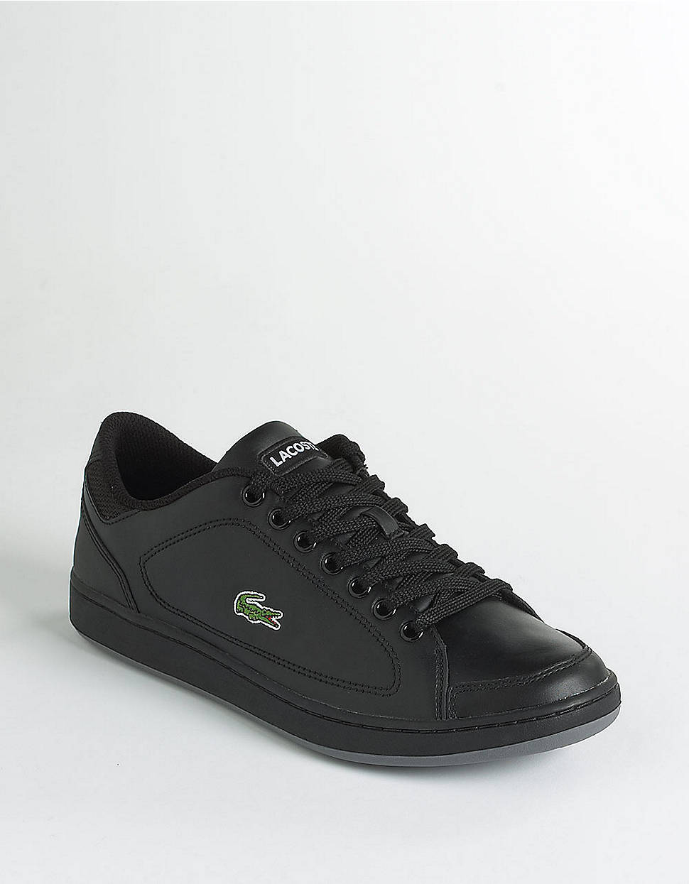 lacoste nistos leather tennis shoes in black for lyst