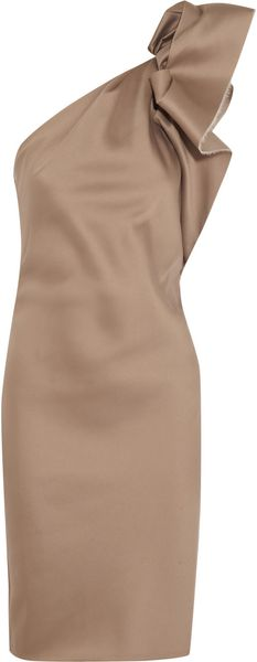 Lanvin Asymmetric Duchess satin Dress - Lyst