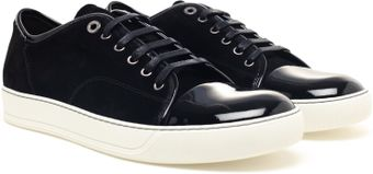 Lanvin Suede and Patent Leather Trainers - Lyst