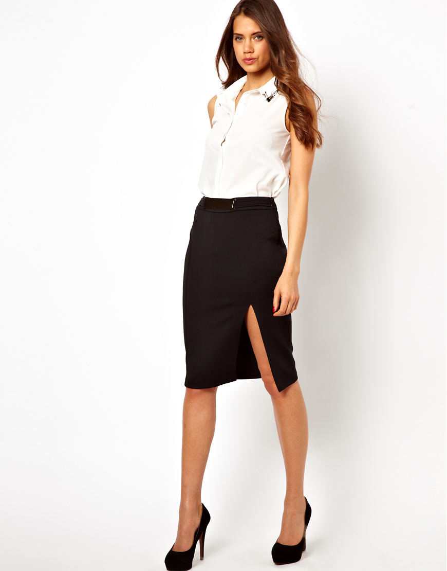 Lipsy Pencil Skirt with Metal Plate Belt Detail in Black | Lyst