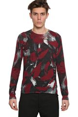 McQ by Alexander McQueen Printed Silk Cotton Light Knit Sweater - Lyst