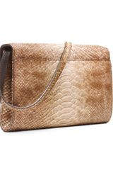 Michael Kors Gia Snakeembossed Clutch in Brown (tan) - Lyst