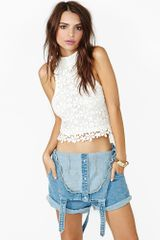 Nasty Gal Victoria Crochet Crop Top White - Lyst