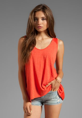Saint Grace Scoop Henley in Orange - Lyst
