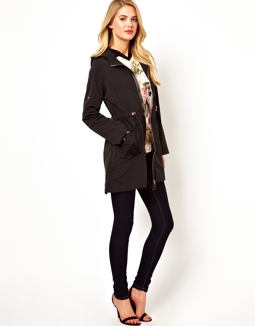 Ted baker Hooded Coat with Rose Gold Zip Details in Black   Lyst