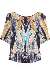Temperley London Feather-print Hammered-silk Satin Top - Lyst