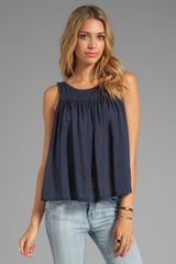Testament Pleated Swing Top in Navy - Lyst