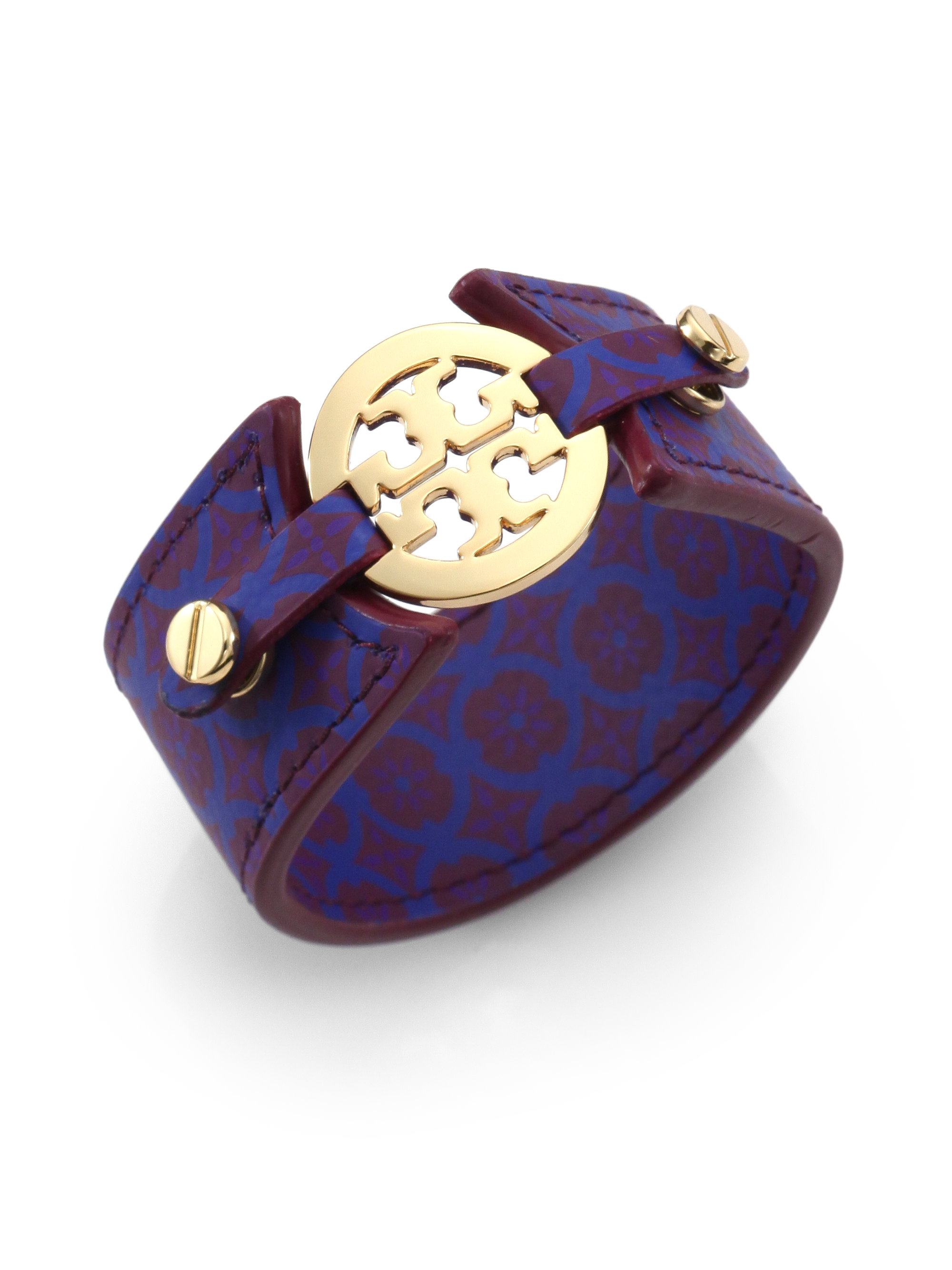 Tory Burch Printed Leather Double Snap Logo Bracelet In
