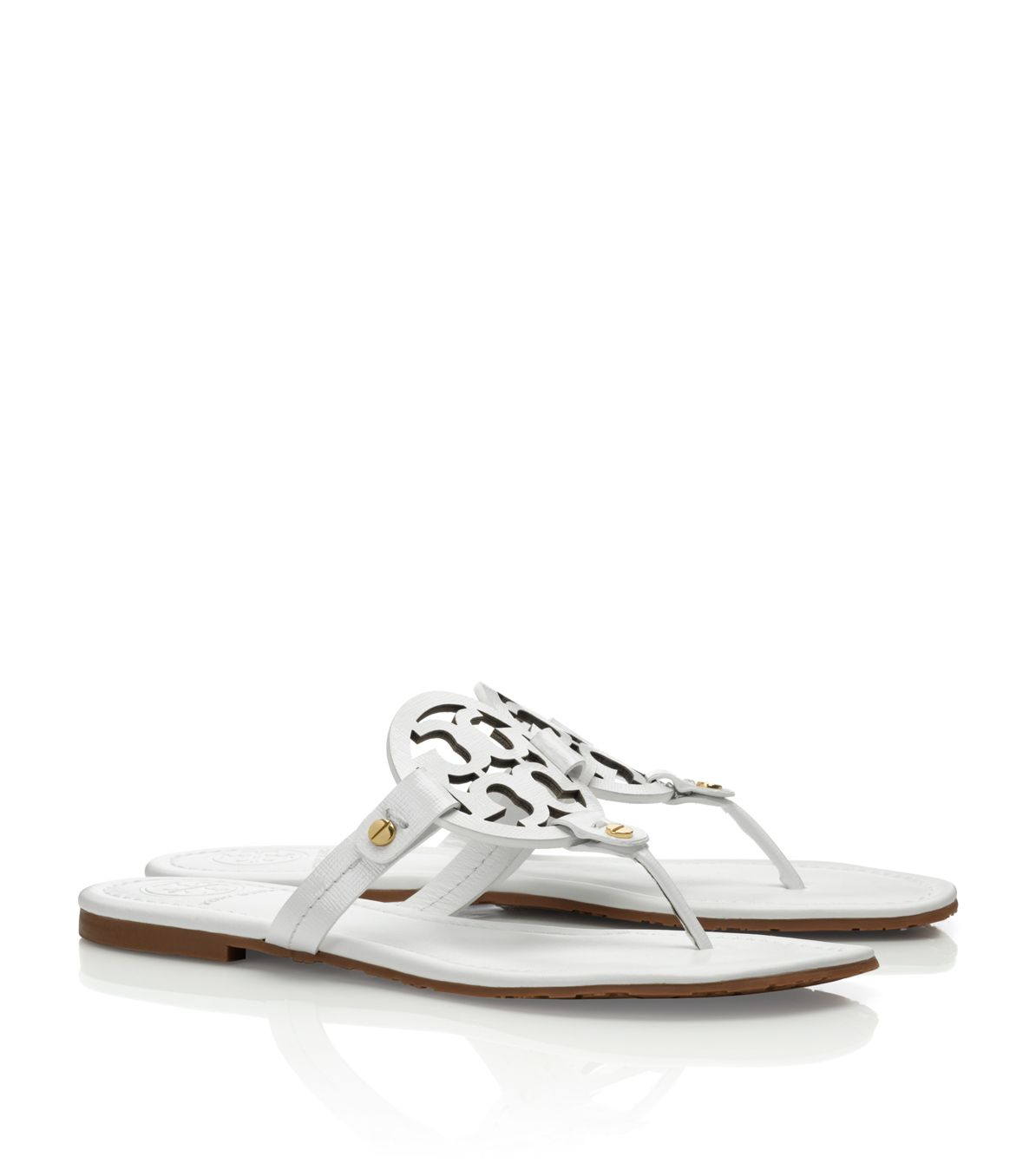 6b4037403c6064 Tory Burch Patent Leather Miller Sandal in White - Lyst
