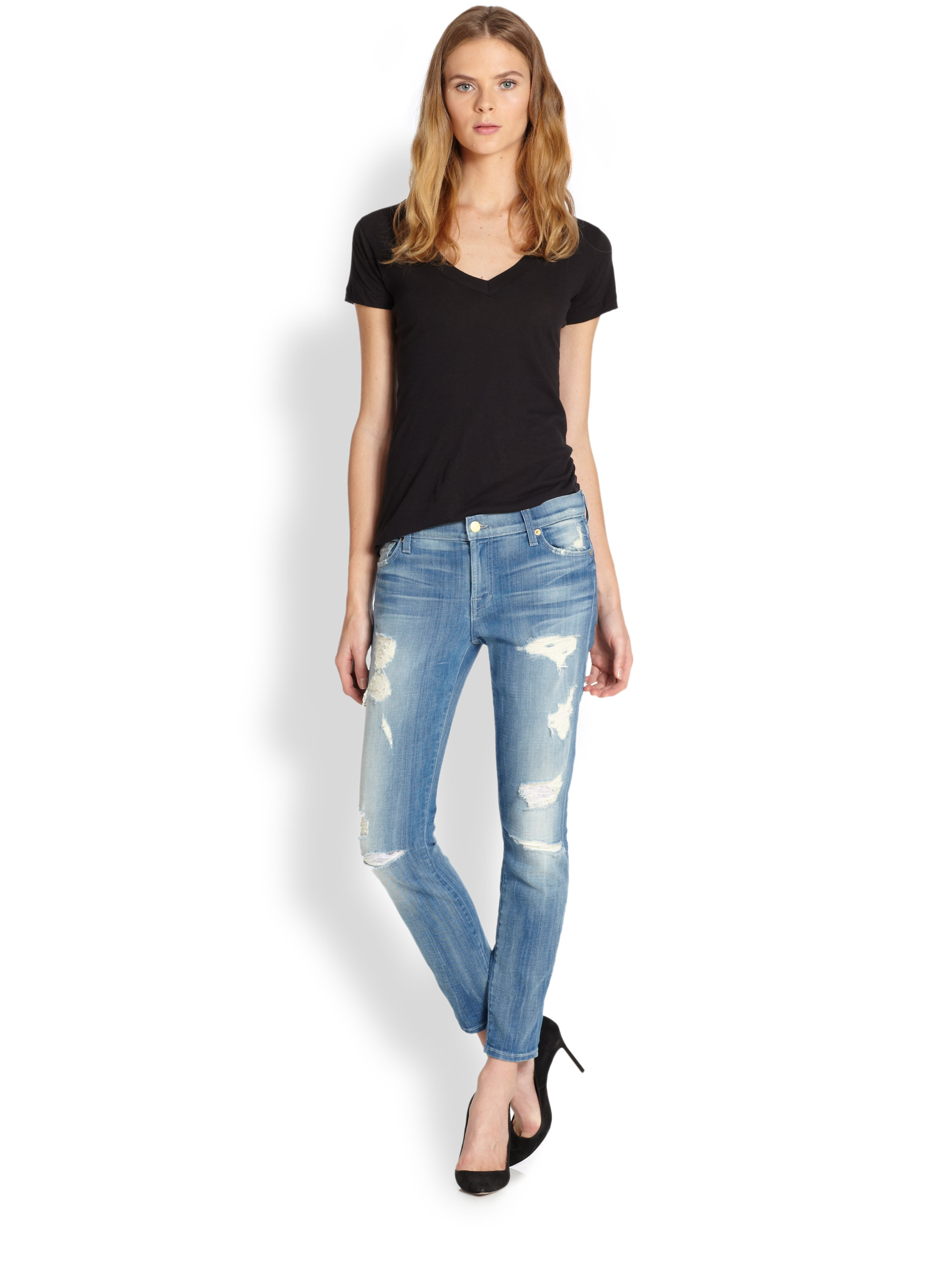 7 for all mankind The Skinny 28 Ankle Skinny Jeans in Blue | Lyst