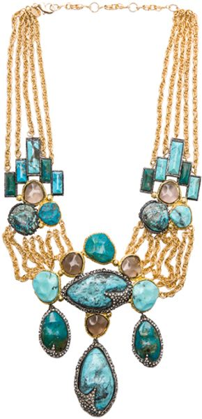Alexis Bittar Large Chrysocolla Necklace in Metallics - Lyst