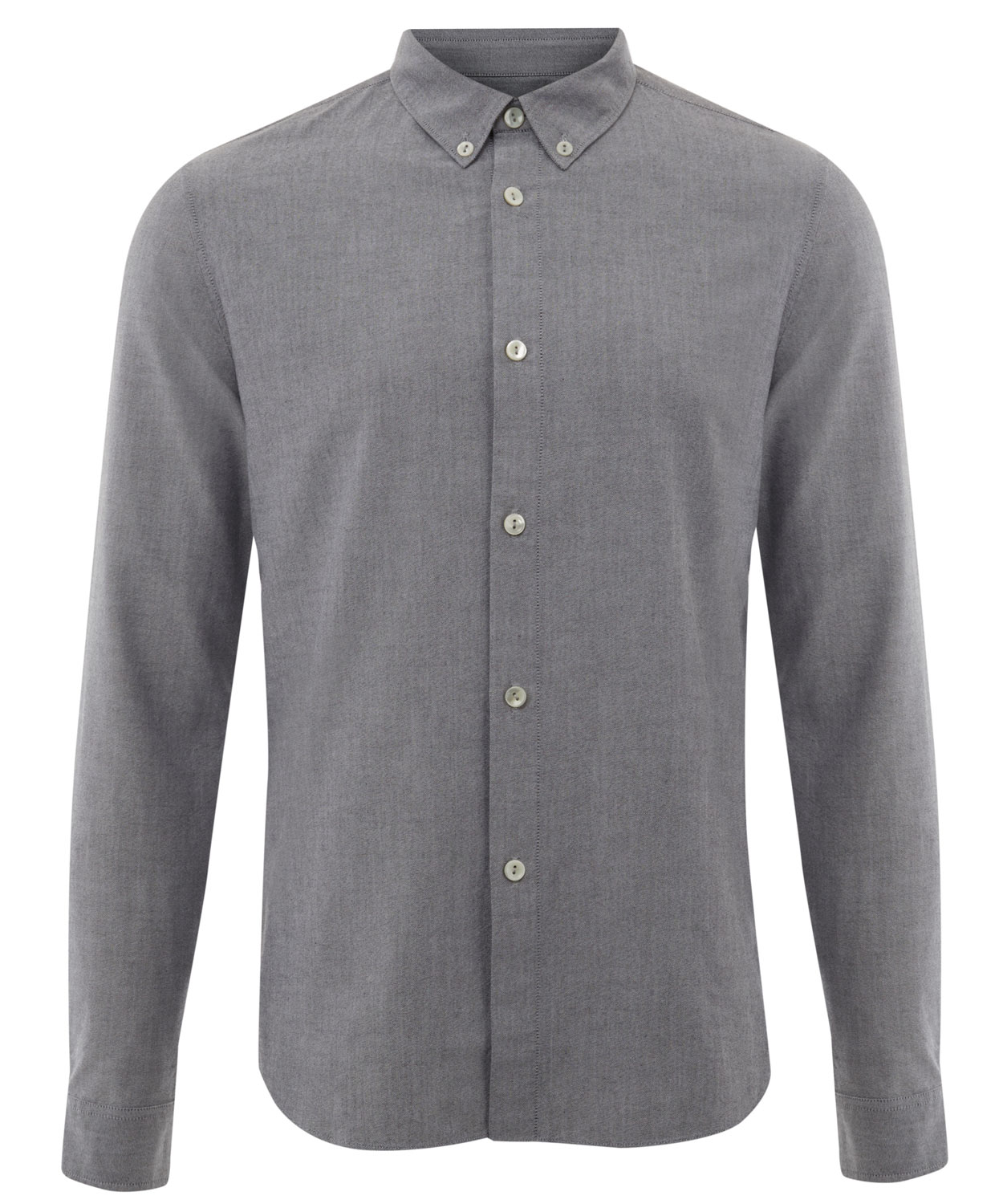 A.p.c. Mid Grey Buttondown Oxford Cotton Shirt in Gray for Men | Lyst