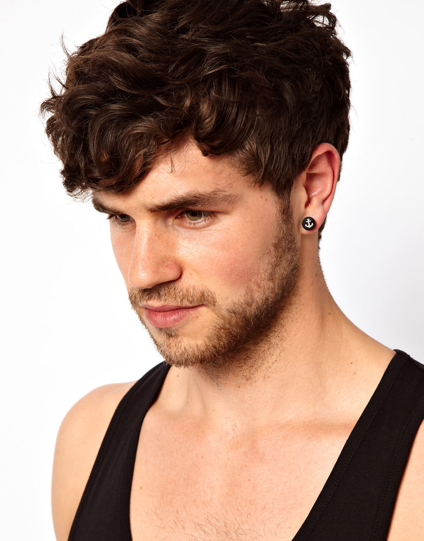 Asos Plug Earrings with Anchor Design in Black for Men