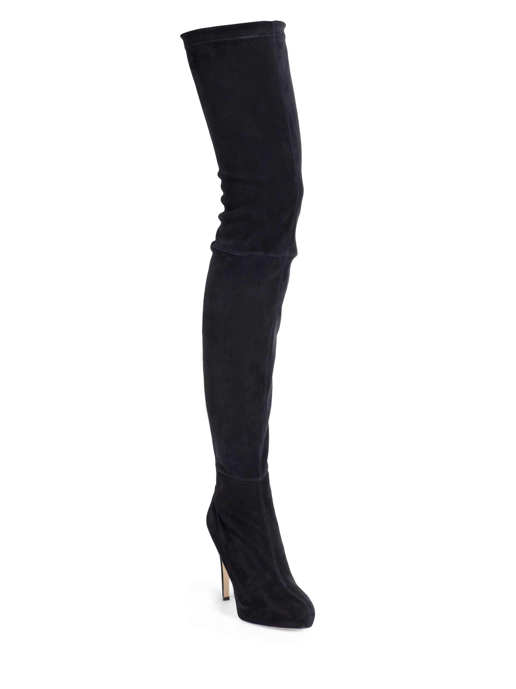 brian atwood david stretch suede thighhigh boots in black