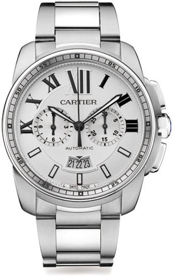Cartier Stainless Steel Round Chronograph Bracelet Watch - Lyst