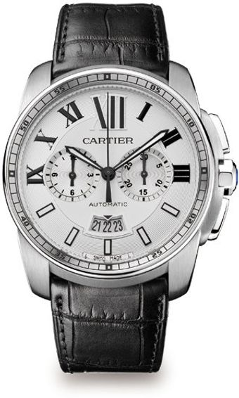 Cartier Stainless Steel Round Chronograph Strap Watch - Lyst