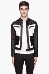 DSquared2 Black and White Lether Biker Jacket - Lyst