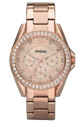 Fossil Ladies Riley Style Rose Goldtone Stainless Steel Watch with Crystal Accents - Lyst